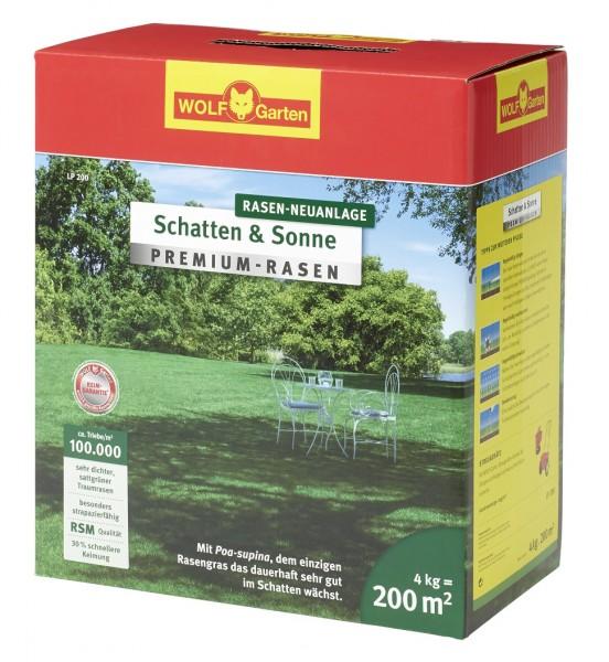 Wolf-Garten LP 200 Premium-Rasensamen Schatten und Sonne 4kg für 200qm