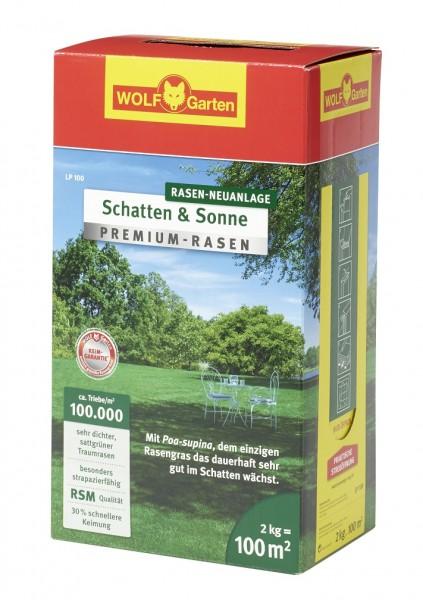 Wolf-Garten LP 100 Premium-Rasensamen Schatten und Sonne 2kg für 100qm