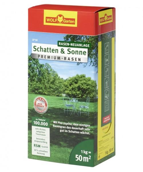 Wolf-Garten LP 50 Premium-Rasensamen Schatten und Sonne 1kg für 50qm